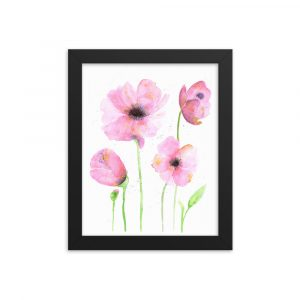 Framed poster Watercolor Poppies