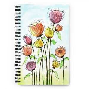 Spiral notebook Watercolor doodle flowers